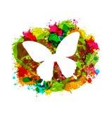 Einfacher weißer Schmetterling auf buntem Schmutz-Schaden-Rahmen Stockfotografie