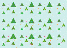 Einfacher Weihnachtshintergrund mit Weihnachtsbäumen und Konfettis Stockfoto