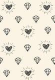 Einfaches abstraktes nahtloses Muster mit Herzen und Diamanten Stockbild