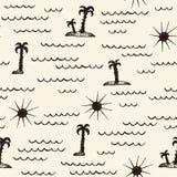Einfaches abstraktes nahtloses Muster mit Palme, Welle und Sonne Lizenzfreies Stockfoto