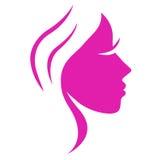 Einfaches abstraktes rosafarbenes Schönheitsfrauengesicht. Lizenzfreie Stockfotos