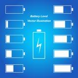 Einfaches blaues Batterieniveau Stockfotografie