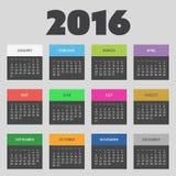 Einfaches buntes Kalender-Design für Jahr 2016 Stockbild
