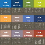 Einfaches buntes Kalender-Design für Jahr 2016 Stockfotos