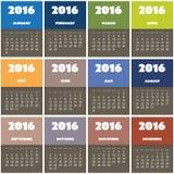 Einfaches buntes Kalender-Design für Jahr 2016 vektor abbildung