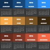 Einfaches buntes Kalender-Design für Jahr 2016 stock abbildung