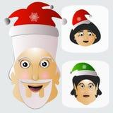 Einfaches einfaches gewöhnliches Licht Santa Clauss mit Frau und einer Elfe Lizenzfreie Stockbilder