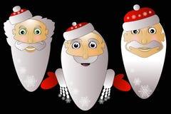 Einfaches einfaches Santa Claus-Ikone auf einem weißen Hintergrund zusammen in Troja-Schwarzem Lizenzfreie Stockfotografie