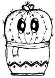 Einfaches Gekritzelbild der netten schüchternen Kaktuskarikatur stockbilder