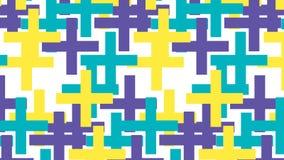 Einfaches gelbes blaues und purpurrotes Pluszeichenmuster Stockbild