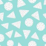 Einfaches geometrisches nahtloses Muster mit Kreisen und Dreiecken Eigenhändig gezeichnet stock abbildung
