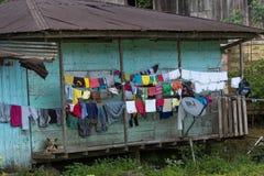 Einfaches hölzernes Haus im Dschungel Lizenzfreie Stockbilder