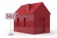 Einfaches Haus zu verkaufen 3D Stock Abbildung