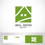 Einfaches Immobilienlogo des grünen Hauses Stockbild