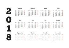 Einfaches Jahr des Kalenders 2018 in der deutschen Sprache Lizenzfreie Stockfotos