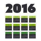 Einfaches Kalender-Design für Jahr 2016 lizenzfreie abbildung