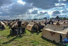 Einfaches Kampieren im Hellfest-Festivalmetall Stockbild