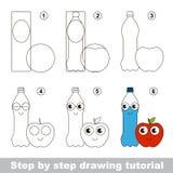 Einfaches Kinderlernspiel Zeichnendes Tutorium Stockfotografie