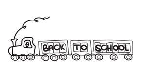 Einfaches kindisches zurück zu Schulschwarz-Zuggekritzel mit Buchstaben auf weißem Hintergrund stock abbildung