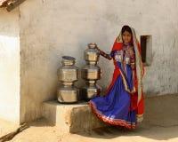 Einfaches Leben im Dorf auf der Wüste in Gujarat Lizenzfreies Stockfoto