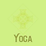 Einfaches Logo mit abstraktem gelocktem Symbol für Yogastudio oder Yogalehrer Firma Logo Design Vektor Stockfoto