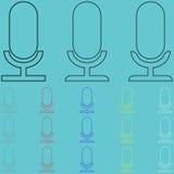 Einfaches Mikrofon schaffen mit silhoutte lizenzfreie abbildung