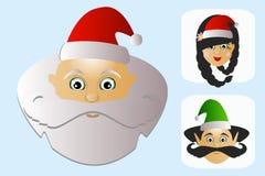 Einfaches Mobile des Santa Claus-Ikonenkopfes mit Frau und Elfe Stockfotografie