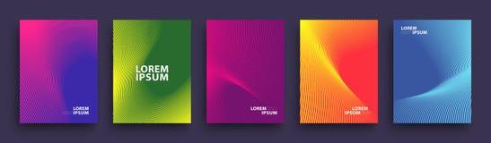 Einfaches modernes Abdeckung Schablone Design Satz minimale geometrische Halbtonsteigungen für Darstellung, Zeitschriften, Fliege vektor abbildung