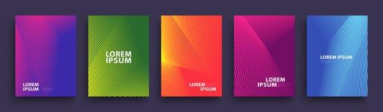 Einfaches modernes Abdeckung Schablone Design Satz minimale geometrische Halbtonsteigungen für Darstellung, Zeitschriften, Fliege stock abbildung