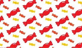 Einfaches modernes abstraktes rotes und gelbes Süßigkeitsmuster Lizenzfreie Stockfotos