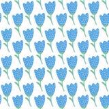 Einfaches Muster der blauen Tulpe des Gekritzels Nahtloser Hintergrund der netten Blume Kann Gebrauch als Hintergrund sein und el stock abbildung