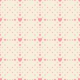 Einfaches Muster enthält die Herzen, die in den Gruppen verfasst werden, um eine Verzierung herzustellen lizenzfreie abbildung