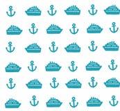 Einfaches Muster mit Ankern und Schiffen Lizenzfreie Stockfotografie