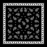 Einfaches Muster schwarzen Paisley-Bandana stockbild