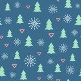 Einfaches nahtloses Muster des neuen Jahres mit Weihnachtsbäumen, Schneeflocken und Dreiecken Auch im corel abgehobenen Betrag vektor abbildung