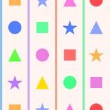 Einfaches nahtloses Muster mit geometrischen Zahlen für Kinderraum Lizenzfreie Stockbilder
