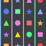 Einfaches nahtloses Muster mit geometrischen Zahlen für Kinderraum Stockbilder