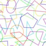 Einfaches nahtloses Muster mit Kreisen, Dreiecken und Polygonen Lizenzfreie Stockfotografie