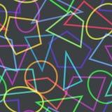Einfaches nahtloses Muster mit Kreisen, Dreiecken und Polygonen Stockbild