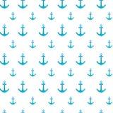 Einfaches nahtloses Muster von Ankern mit Aquarell Stockbilder
