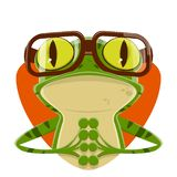 Cartoon illustration of a frog with nerd glasses. Funny cartoon illustration of a frog with nerd glasses stock illustration