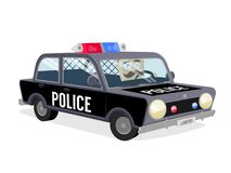 Cop driving police car. Funny cop driving police car stock illustration