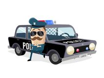 Policeman leaning on his car. Funny policeman leaning on his car vector illustration
