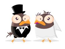 Cartoon bird couple is getting married. Funny cartoon bird couple is getting married royalty free illustration