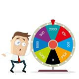Businessman with wheel of fortune. Funny businessman with wheel of fortune royalty free illustration