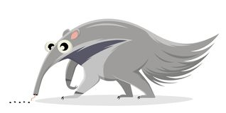 Cartoon illustration of an ant-eater. Funny cartoon illustration of an ant-eater stock illustration
