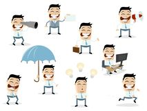 Funny cartoon collection of an asian businessman in various situations. Cartoon collection of an asian businessman in various situations stock illustration