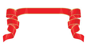 Einfaches rotes Band mit Goldstreifen Stockfoto