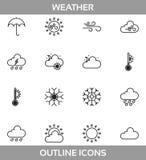 Einfaches Satz ofwetterbezogene Vektor LineÂ-Ikonen Enthält suchIconsÂ-asSonne, Wolke, Sturm, Schnee, Wind, Regen und mehr Lizenzfreies Stockbild