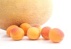 Einfaches Stillleben mit reifer Melone und Aprikosen Stockbilder